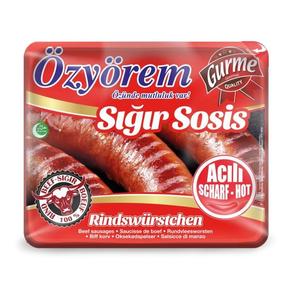 Özyörem Rinderwürstchen Scharf Sigir Sosis Aci 860g