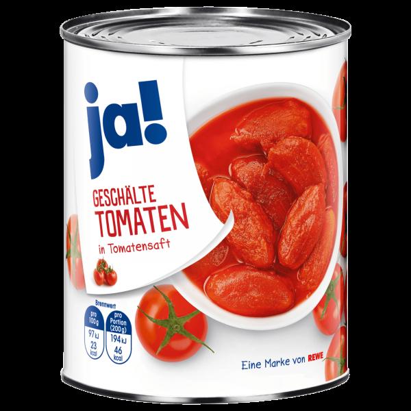 Ja! Geschälte Tomaten in Tomatensaft 800g
