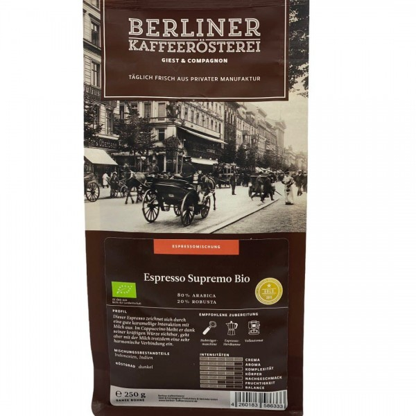 Berliner Kaffeerösterei - Berliner Espresso Supremo BIO - Ganze Bohne 250g