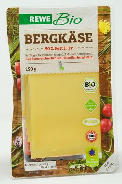 Rewe BIO Bergkäse 50% Fett i.Tr. 150g
