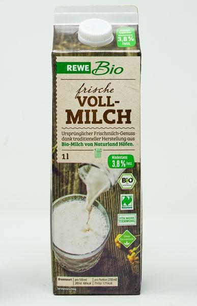 Rewe BIO Frische Vollmilch 3,8 % Fett 1